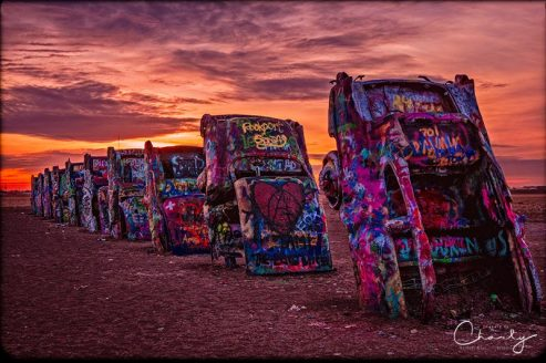 Route 66 Collection Cadillac Ranch at Sunrise © Imagery by Charly™ | All Rights Reserved