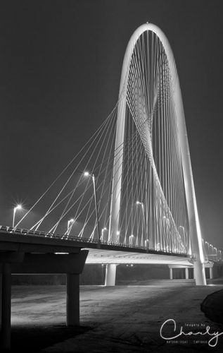 Fog, Light and Lines IV of Margaret Hunt Hill Bridge in Dallas at night © Imagery by Charly™ | All Rights Reserved
